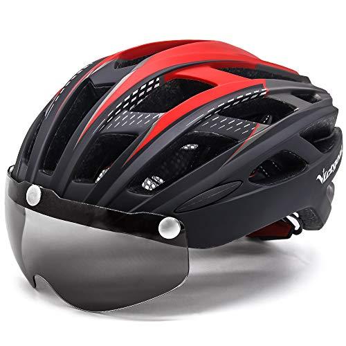 VICTGOAL Fahrradhelm Herren Damen Erwachsene Fahrrad Zyklus Helm Magnetischer Visier-Schutzbrille mit LED-Rücklicht 57-61 cm (BlackRed)