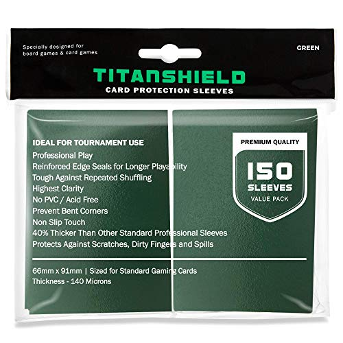TitanShield (150 Sleeves / Green) Standard Size Trading Card Sleeves Deck Protector for Magic The Gathering MTG, Pokemon, Baseball, Dropmix