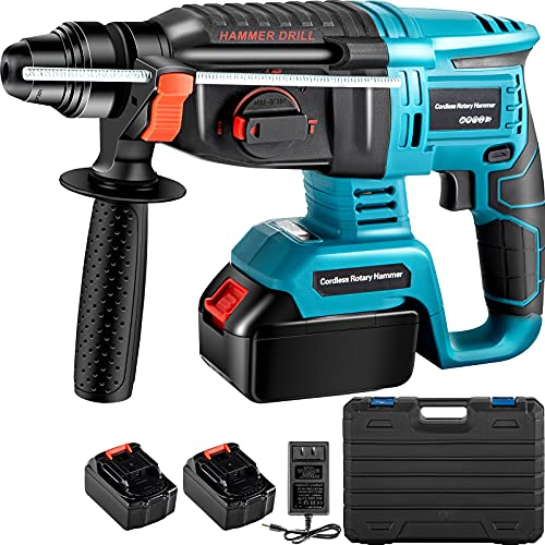 VEVOR SDS-Plus 1 In Rotary Hammer Drill 18V, 1400 rpm & 4500 bpm Variable Speed Electric Hammer, 4 IN 1 Cordless Drill, Measurable Hammer Ideal with 2 Batteries, for Concrete, Steel, Wood