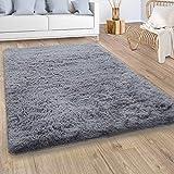 Paco Home Hochflor Teppich Wohnzimmer Fellteppich Kunstfell Shaggy Flauschig Einfarbig Grau, Grösse:60x100 cm
