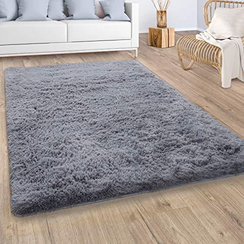 Paco Home Hochflor Teppich Wohnzimmer Fellteppich Kunstfell Shaggy Flauschig Einfarbig Grau, Grösse:160x220 cm