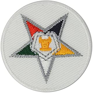 """Order of The Eastern Star Round Embroidered Masonic Patch - [Multicolored][1 1/2"""" Diameter]"""