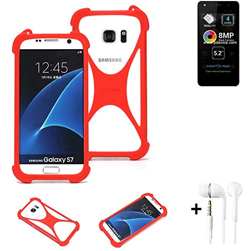 K-S-Trade® Handyhülle + Kopfhörer Für Allview A9 Lite Schutzhülle Bumper Silikon Schutz Hülle Cover Case Silikoncase Silikonbumper TPU Softcase Smartphone, Rot (1x),