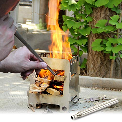 WJH 2 stuks outdoor camping aansteker van roestvrij staal ventilator picknick BBQ gereedschap intrekbare zaklamp voor soldeerwerkzaamheden, specificaties: 8 delen