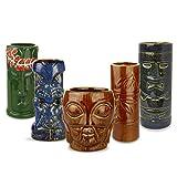 bar@drinkstuff Ceramic Tropical Tiki Party Pack - Set of 5 - Ceramic Cocktail Mugs