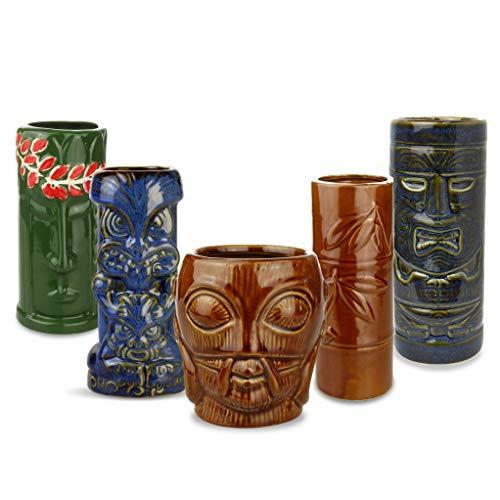 bar@drinkstuff Juego de vasos de cóctel de cerámica tropical, para fiestas tiki, 5 unidades