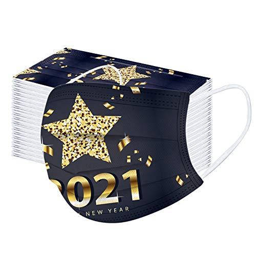 HEnri 10/20/30/50/100 Stück Gesichtsmaske für Erwachsene, Einweg-Maske, 2021, gutes Jahr, atmungsaktiv, leicht, 3 Schichten, Bandana Gr. one size, E