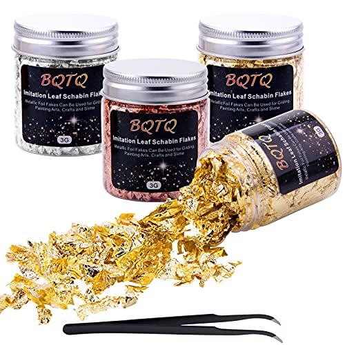BQTQ 4 Cajas Copos de Oro Hojuelas de Pan de Oro Láminas Oro con 1 Pieza Pinza para Uñas Arte Manualidades Decoración (3g/Caja)