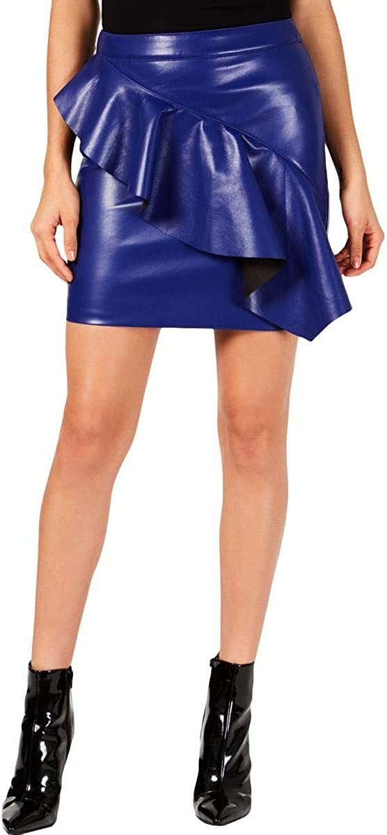 GUESS Women's Lexie Free Shipping Cheap Bargain Gift Faux-Leather Flounce Our shop OFFers the best service Skirt