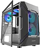 MUSETEX Mesh Micro-ATX Case 5 PCS × LED ARGB Fans Pre-Installed 2 PCS × USB 3.0 Ports Opening Tempered Glass Panel & Mesh Front Panel Airflow Gaming PC Case ITX Tower Computer Cases (MK7-GN5)
