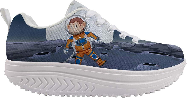 Owaheson Swing Platform Toning Fitness Casual Walking shoes Wedge Sneaker Women Monkey Astronaut Spacewalk