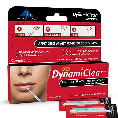 Dynamiclear Cold Sore Treatment   Non-Prescription Fever Blister Single Use Over The Counter Quick Relief with Camphor   Two Pack (0.02 fl. oz Per Pack)