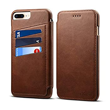 Phone Cover for iPhone 6s Plus/iPhone6 Plus 5.5,Concise PU Leather Case Brown Kickstand 360 Protection Card Slot  ID Card Credit Card  Holder Protector for Girls Boys