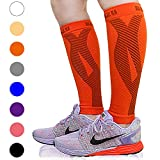 BLITZU Calf Compression Sleeve Leg Performance Support for Shin Splint & Calf Pain Relief. Men Women Runners Guards Sleeves for Running. Improves Circulation and Recovery (Tangerine, Large/X-Large)
