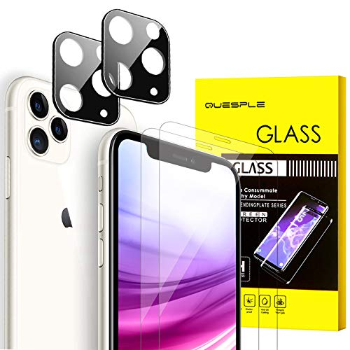 QUESPLE Displayschutzfolie aus gehärtetem Glas + 2 Displayschutzfolien aus gehärtetem Glas für iPhone 11 Pro max – 3D Rand, kratzfest, HD-Klarheit, 4 Stück