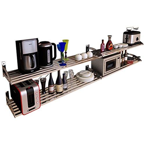 WWWANG 304 de acero inoxidable de montaje en pared estante de la cocina de microondas de almacenamiento en rack estante for platos escurridor utensilios de cocina de almacenamiento Almacenamiento pequ