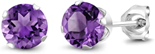 Sterling Silver Round Purple Amethyst Women's Stud Earrings 6mm 1.50 Carat Total Weight