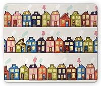 アムステルダムの長方形のマウスパッド、オランダの通りに水平に配置されたファンキーな家、滑り止めのゴム製バッキングマウスパッド、淡い卵の殻と多色