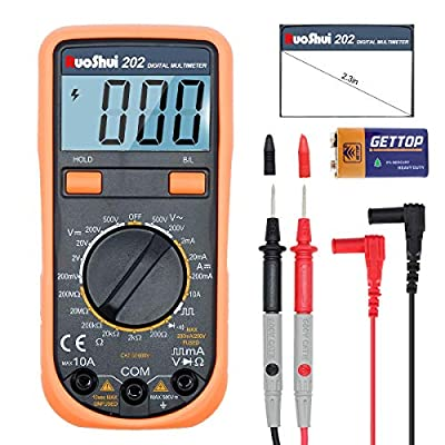 RuoShui Protable Digital Multimeter AC/DC Voltage,DC Current tester meter with Resistance Diode Capacitance,Dual Fused for Anti-Burn, 2000 Counts