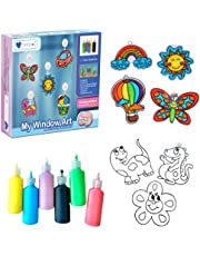 Mumfactory Window Art Paint Toy for Kids - Create your own 24 Suncatchers with 24 Suction Cups - Assorted 9 Colors paints - DIY Arts & Crafts Kit - Toys for boys & Girls