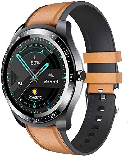 TYUI Smart Watch Fitness Tracker Reloj de ritmo cardíaco Medidor de presión arterial IP68 impermeable Bluetooth Sports Activity Tracker pulsera inteligente adecuado hombres mujeres-marrón