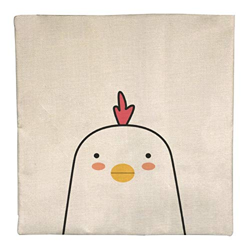 DKE&YMQ Funda de almohada de lino individual, lnea blanca con dibujo de ilustracin