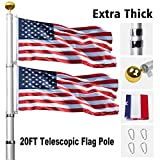 Klvied 20FT Telescopic Flag Pole, Tangle Free Flagpole Kit Fly 2 Flags, Heavy Duty Extra Thick Aluminum Flag Pole with 3x5 America Flag, Golden Ball Top for Commercial, Residential, Outdoor (b)