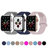 Idon 3-Pack Sport Band Compatible for Apple Watch Band 38MM 40MM S/M, Soft Silicone Sport Bands Replacement Strap Compatible with Apple Watch Series 5/4/3/2/1, Concrete + Midnight Blue + Pink Sand