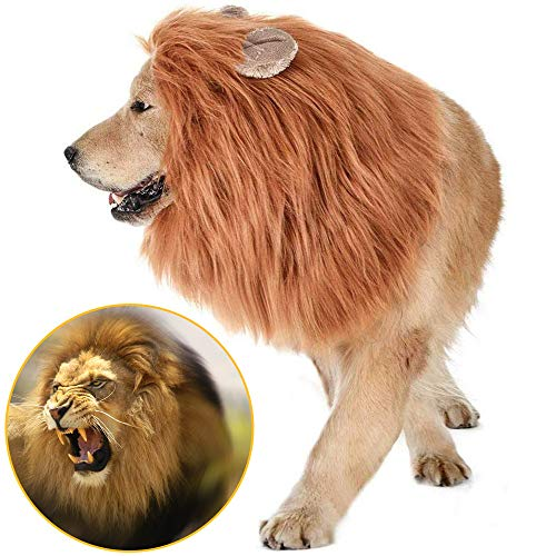 Jemma Peluca de melena de león para perro, disfraz de melena de león realista y divertido, peluca de león ajustable para perros medianos a grandes, fiesta de Pascua, Halloween, disfraces, color marrón