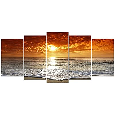 Wieco Art Grand Sight 5 Panels HD Canvas Print Stretched and Framed Modern Canvas Wall Art for Home and Office Decoration Giclee Picture Photon Print on Canvas P5RLA028