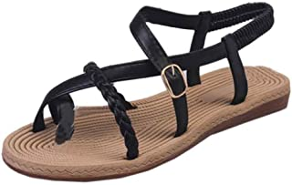 Fulision Women Summer Thin Belt Woven Roman Shoes with Toe Sandals Flat Sandals