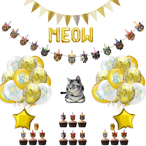 Cat Themed Birthday Party Decorations, Cat Face Banner, Triangle Flag Banner, Cat Cupcake Toppers,Cat Balloons and Meow Balloons,Cat Party Supplies for Kids
