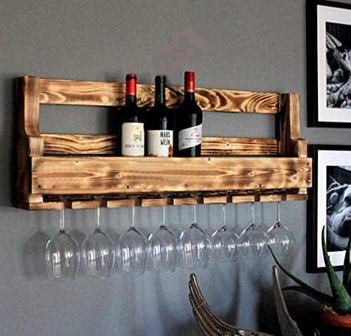 Dekorie Weinregal aus Holz für die Wand - mit Gläserhalter - Geflammt - fertig montiert - Regal für Weinflaschen und Weingläser