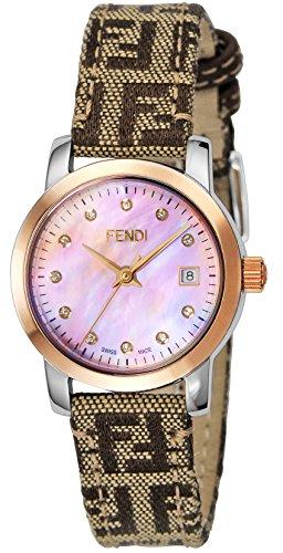 FENDI Orologio Rotondo Classico Rosa Quadrante Perla Diamante F218272DF