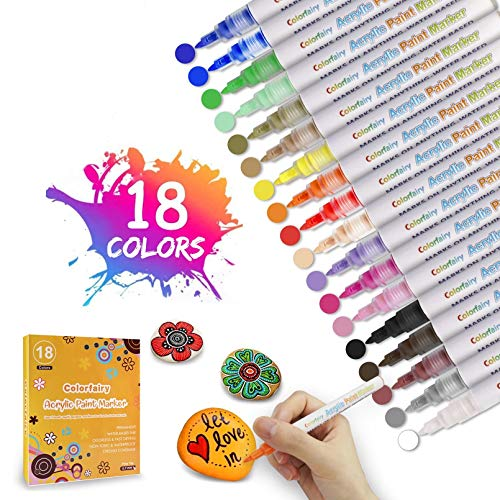 Acrylic Paint Marker Pens 18 Colors Permanent Paint Art Markers, Colorfairy Waterbased Pen Set for Stone, Ceramic, Glass, Wood, Canva, 0.7mm Fine Tip for Rock Painting, Non Toxic, Quick Drying