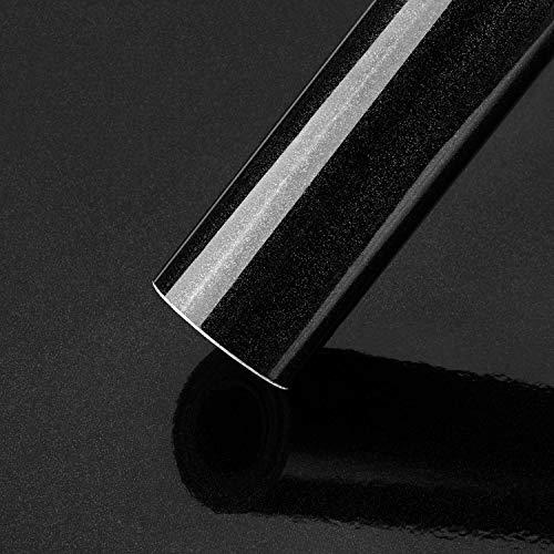 KINLO Adhesivo para muebles, color negro, 0,6 x 5 m, adhesivo con purpurina, de PVC de alta calidad, autoadhesivo, resistente al agua, lámina para puerta de salón, cocina u oficina