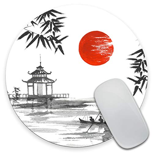 Amcove Japan Traditional Japanese Painting Sumi-e Bamboo Art Man with Boat Mouse Pad,Anti Slip Rubber Round Mousepads Desktop Notebook Mouse Mat for Working and Gaming