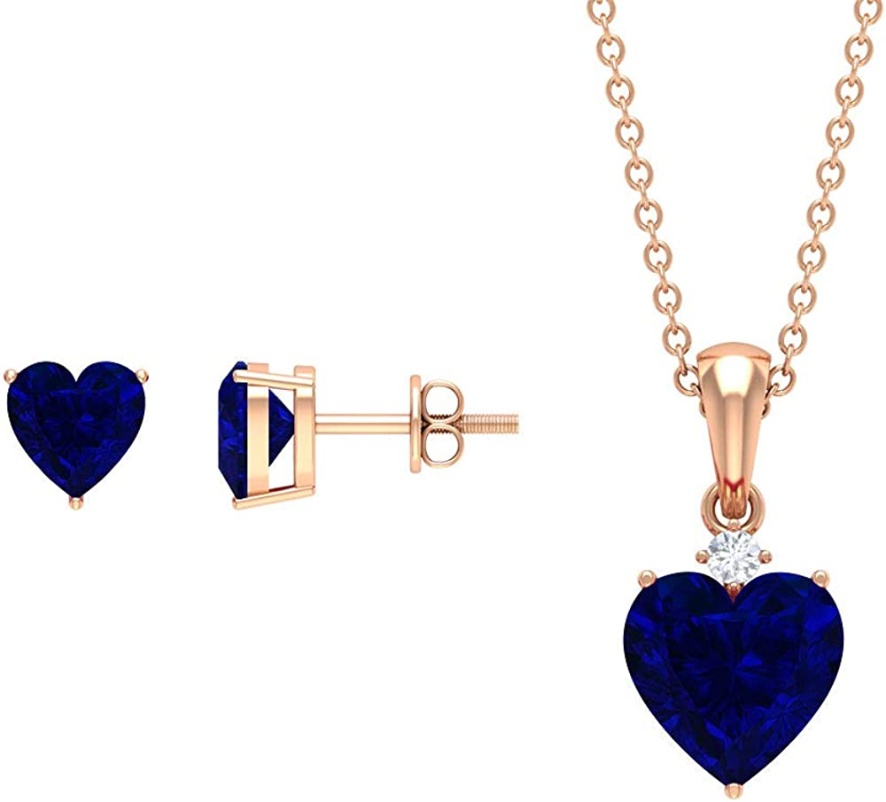 3 CT Lab Created Blue Sapphire Necklace and Earring Set, Solitaire Jewelry Set, Gold Pendant Set, HI-SI Diamond Jewelry,14K Rose Gold,Diamond