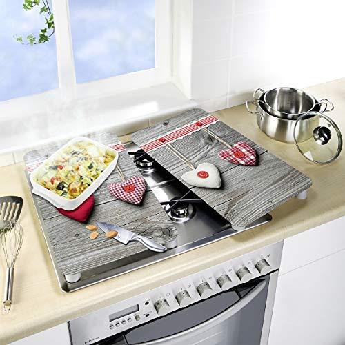 Wenko2521481100–Protector de Placas de Cocina Universal (Cristal, diseño de Corazones, Juego de 2 Unidades), Multicolor