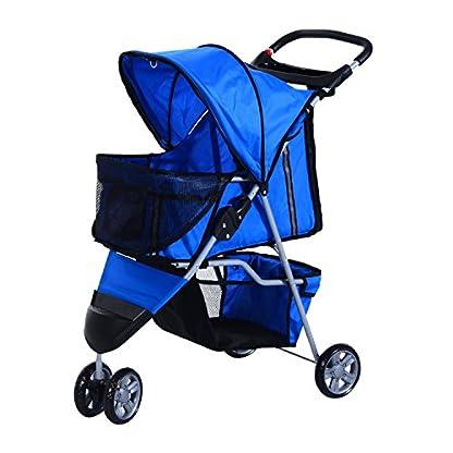 PawHut Pet Travel Stroller Cat Dog Pushchair Trolley Puppy Jogger Carrier Three Wheels (Blue) 3