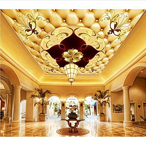 Weaeo Luxury Customized 3D Fototapeten Deckengemälde 3D Europäischen Villa Hotel Lobby Große Fresken Wand Papier Raumdekoration-400X280Cm