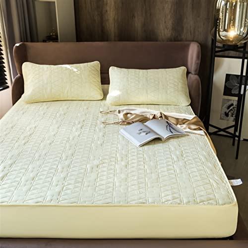 YUDEYU (Funda de Cama x1, Funda de Almohada x2) Acolchado de Fibra de algodón Sábanas Ajustables Colchón Topper Cubrecamas Material de algodón Puro Duradero y cómodo.