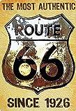 Cartel de metal de 20 x 30 cm, The Most Authentic Route 66 since 1926 USA