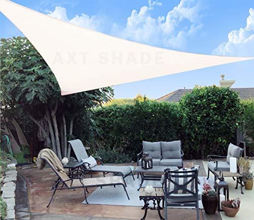 AXT SHADE Toldo Vela de Sombra Triangular 5 x 5 x 5 m, protección Rayos UV y HDPE Transpirable para Patio, Exteriores, Jardín, Color Beige