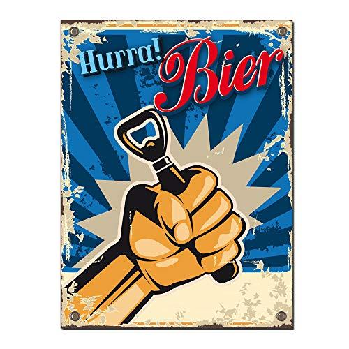 Preis am Stiel Blechschild ''Hurra Bier'' | Geschenkidee | Biertrinker | Bierschild