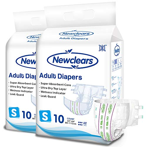 hp adult diapers Newclears Adult Diapers with Tabs for Men Women Incontinence Care, Disposable Absorbent for Disability Postnatal Patient Bedridden Care, 10 Count/Pack (Small - 20 Count)