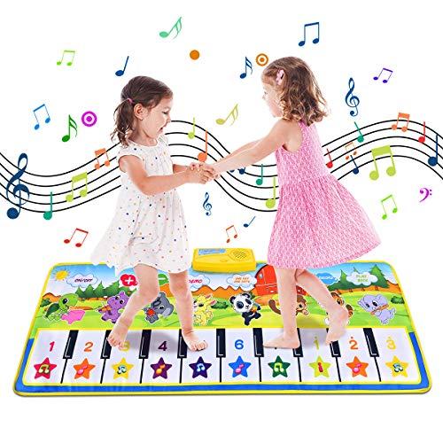 Funkprofi Tanzmatte, Musikmatte für Kinder, Klaviermatte mit 8 Instrumenten, Klaviertastatur Musik Playmat Spielteppich für Babys, Kinder, Mädchen und Junge (Tier, 100x36 cm)