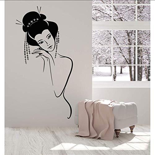 Layyyqx Vinyle Applique Murale Sexy Nue Japonaise Fille Geisha Femme Autocollant Maison Salon Fille Chambre Mur Autocollant 57X113 Cm