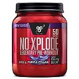 BSN N.O.-Xplode Pre-workout Powder, Suplemento Deportivo con Cafeína, Aminoácidos, Vitamina C y Zinc, Purple Power, 50 Porciones, 650 g, Embalaje Puede Variar