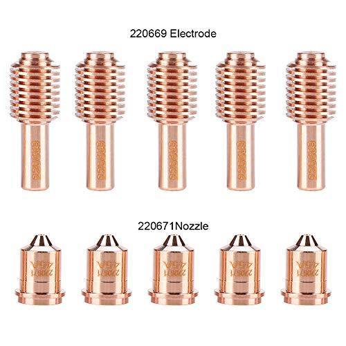 5 stuks 220669 elektrode + 5 stuks 220671 mondstukken voor plasmatoorts, geschikt voor MAX45 snijmachine, veel gebruikt voor koolstofstaal, roestvrij staal, aluminium